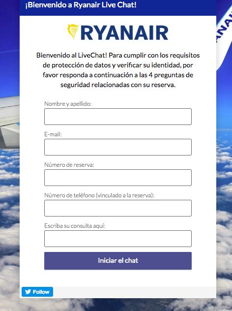 Live chat atencion al cliente Ryanair