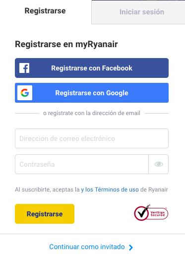Registro log in Ryanair