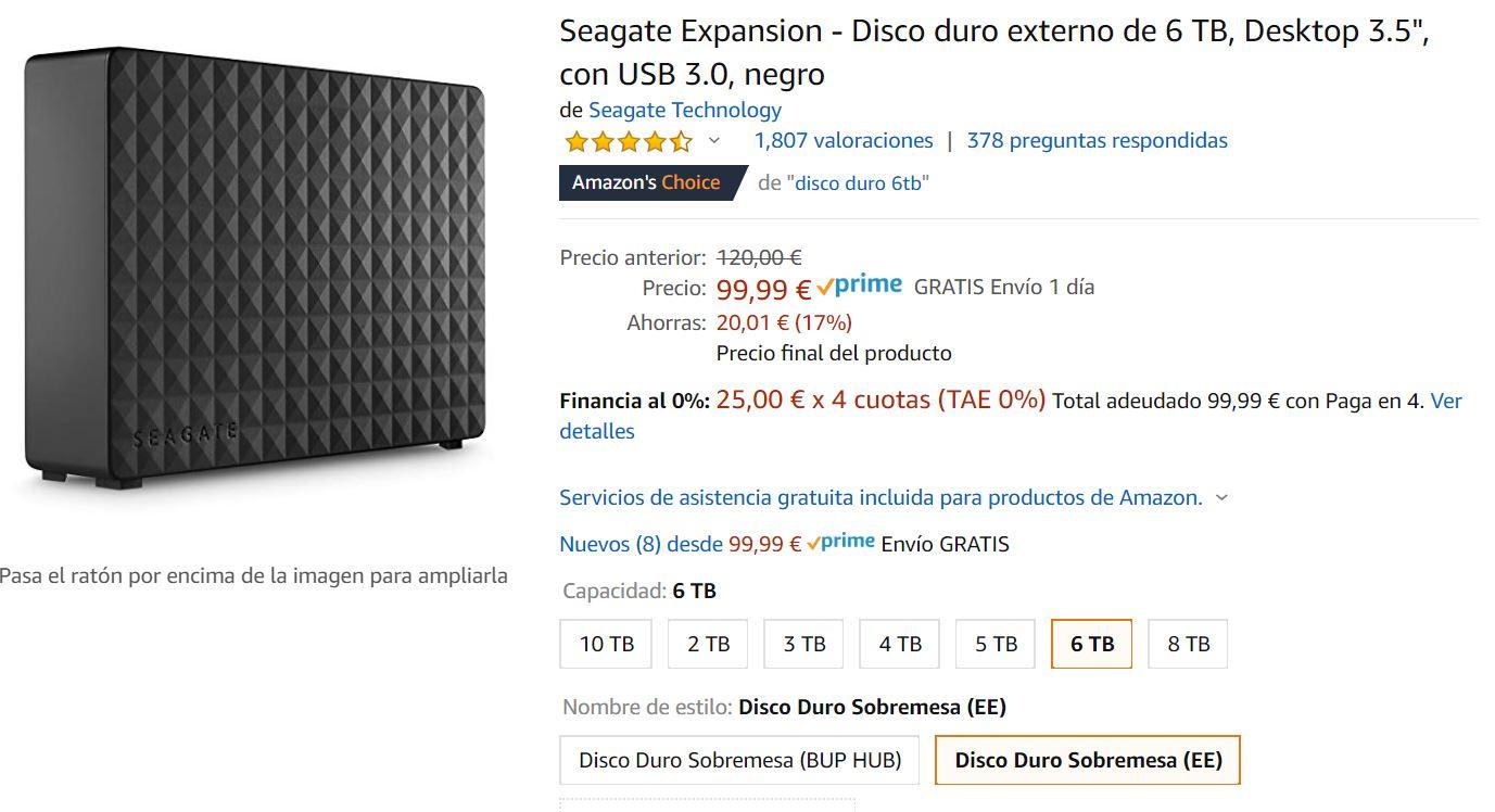 foto de Seagate Expansion - Disco duro externo 6 TB, Desktop 3.5