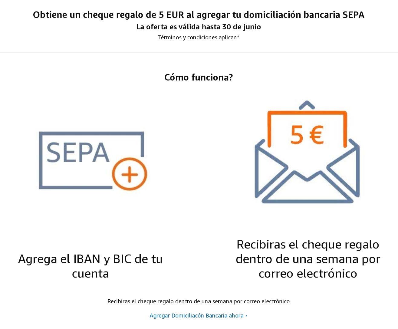 5€ crédito en Amazon al introducir SEPA - Cuentas seleccionadas (precio: €)
