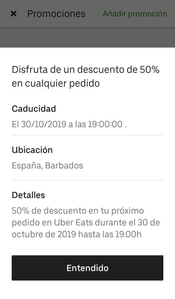 50% en cualquier pedido Uber Eats