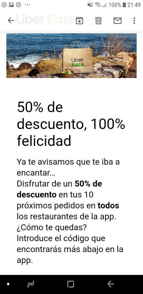 50% descuento Uber Eats en tus primeros 10 pedidos (Sevilla)
