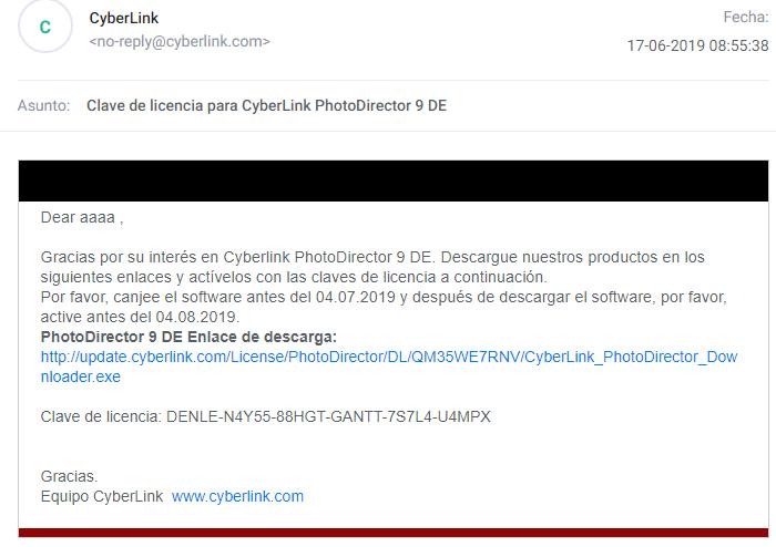 Cyberlink PhotoDirector Deluxe (V9) Licencia gratis