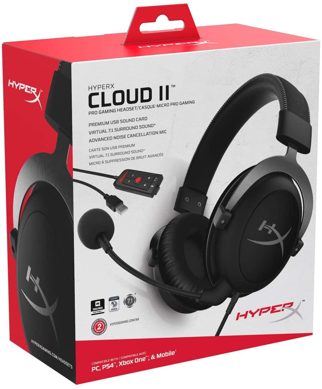 Auriculares HyperX Cloud II 7.1 Virtual PC/PS4/XBOX ONE/Mac, color gris