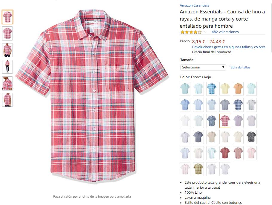 Camisa De Lino De Manga Corta Y Corte Entallado para Hombre
