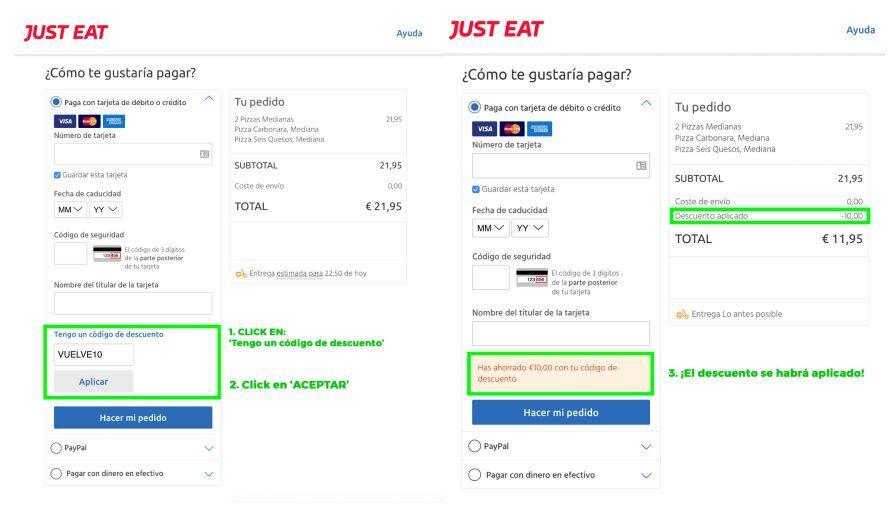 8€ de descuento en Just Eat (mínimo 12€ desde la APP)