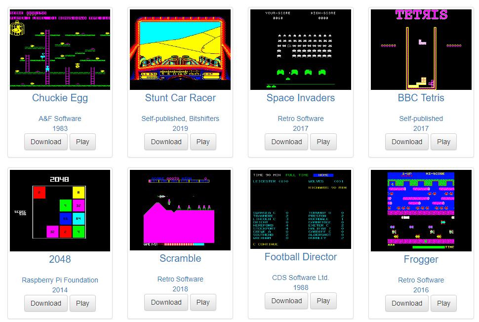 Gratis, Más de 2400 juegos para la Micro BBC de 8 bits
