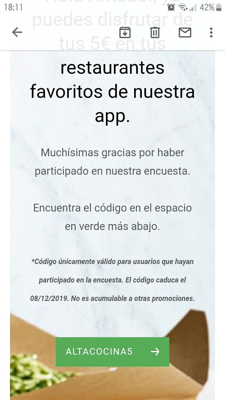 5€ gratis en Uber Eats si hiciste la encuesta