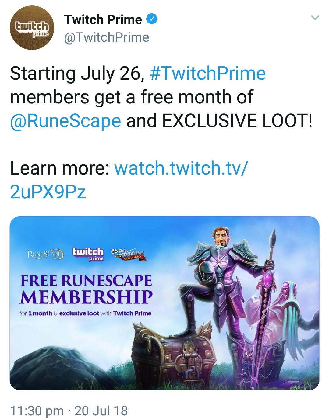 Mes suscripción gratis de Runescape + Loot exclusivo (Gratis