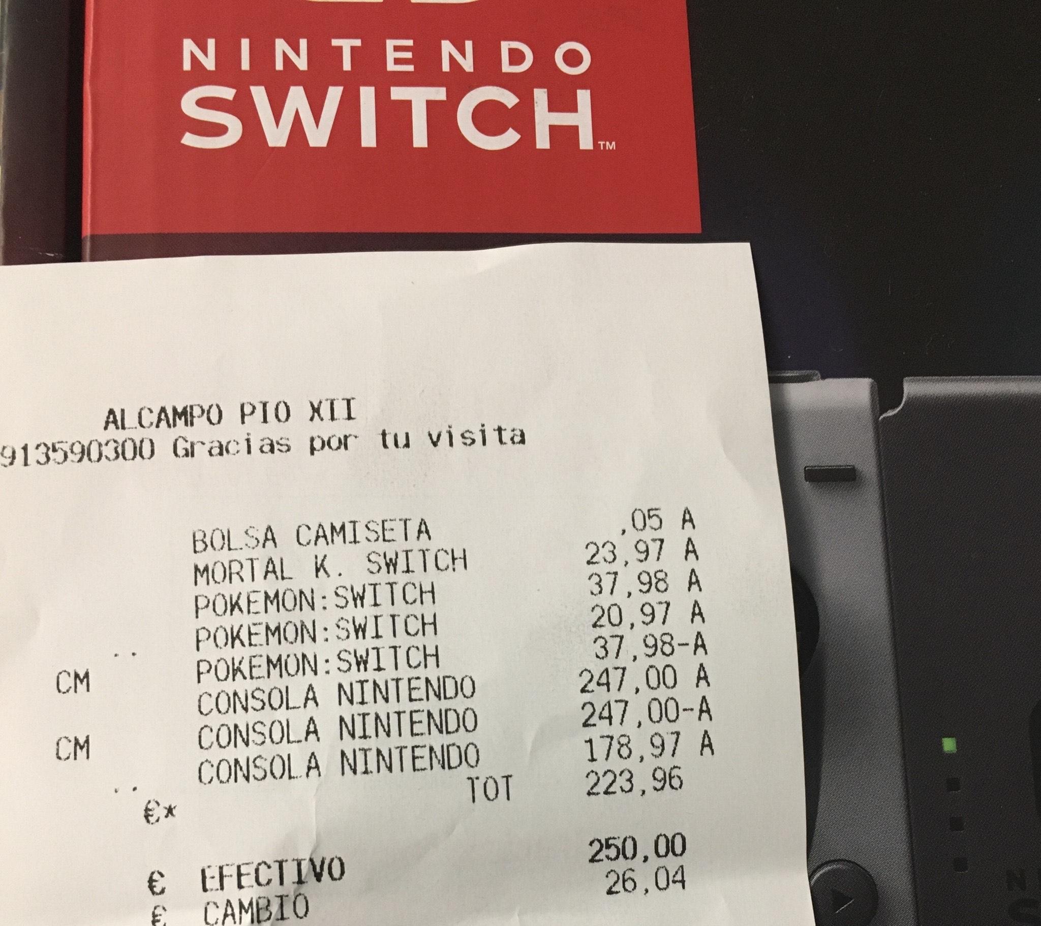 Mínimo histórico Nintendo switch gris (AlCampo)