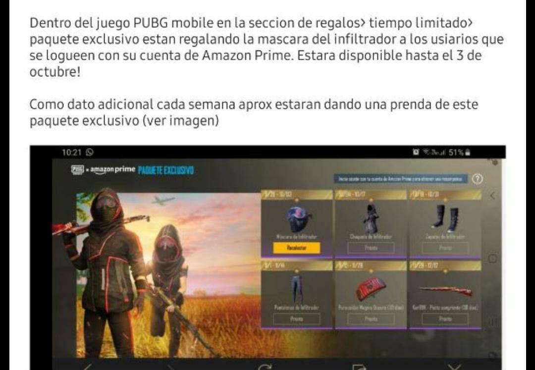SKINS en PUBG MOBILE GRATIS CON AMAZON PRIME