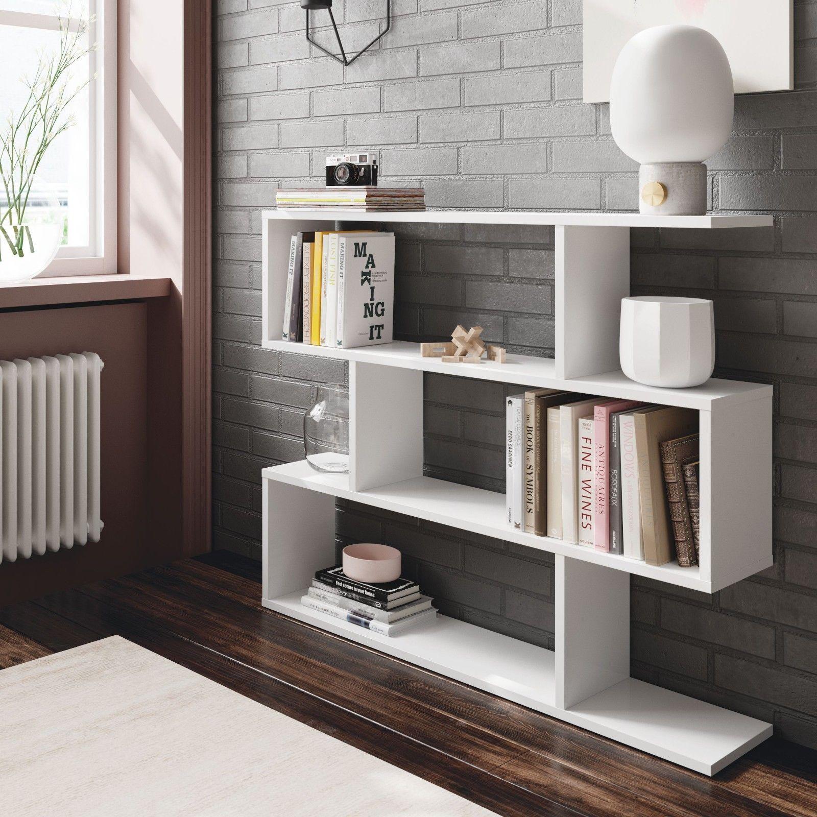 Estanteria baja libreria, mueble para comedor salon acabado Blanco ...