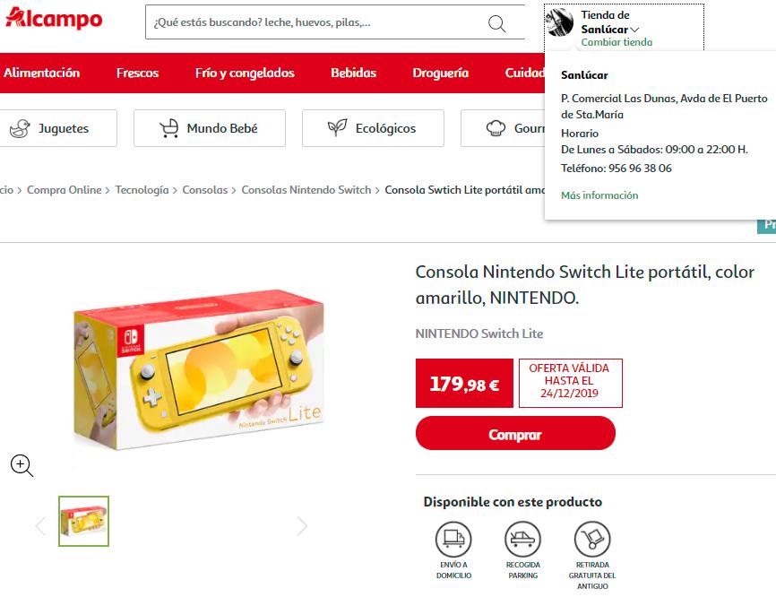 Consola Nintendo Switch Lite portátil (AlCampo)