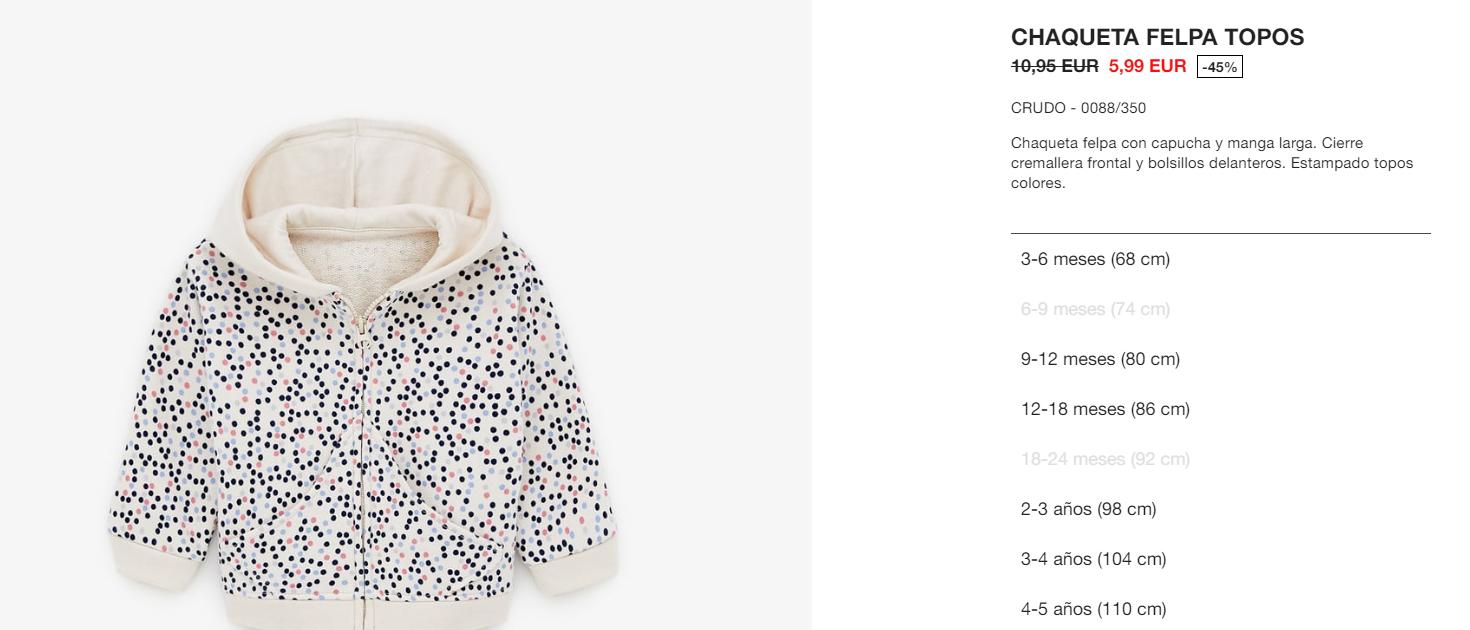talla 40 bf2d7 ac6b7 Chaqueta con capucha para bebé/niña de ZARA - chollometro.com