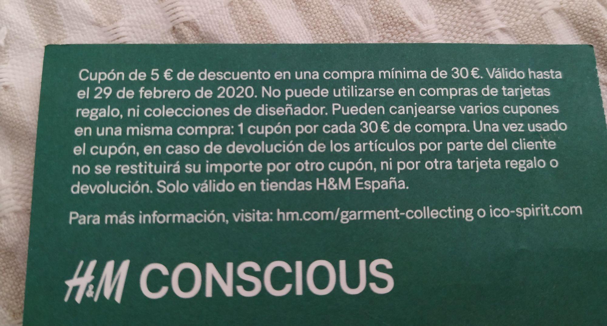 Cupón 5€ de descuento en H&M por reciclar ropa