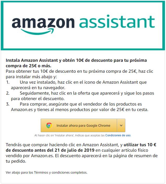 Amazon Assistant 10€ de descuento en pedidos de 25€