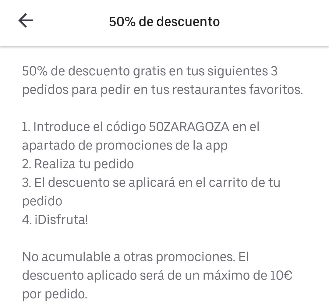 50% Uber Eats ZARAGOZA