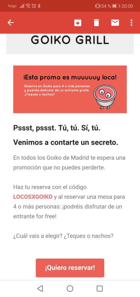Entrante gratis por 4 comensales GOIKO GRILL MADRID