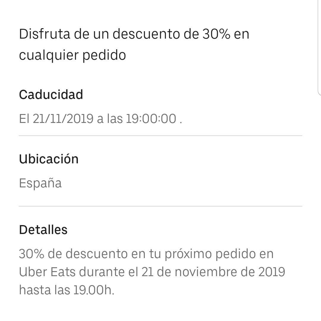UberEats 30% de dto para hoy (21NOV hasta las 19:00)