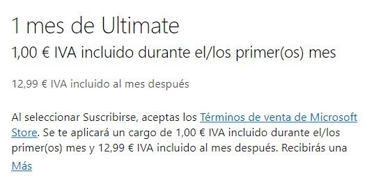 Añadimos el mes de Xbox Ultimate por 1 euro