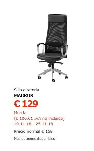 Silla oficina MARKUS de Ikea a 116,10€ en Murcia durante esta semana ...