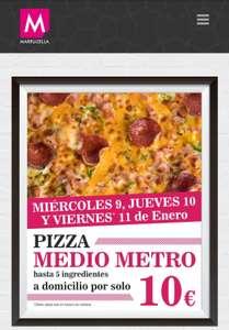 PIZZA MEDIO METRO A DOMICILIO POR SÓLO 10€