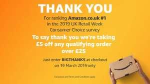 5 £ de descuento por compras superiores a £25 en casi todo Amazon.co.uk