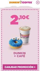 Dunkin + café por 2,10€ desde la app de dunkin coffee