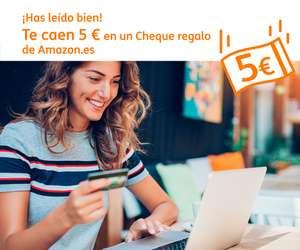 Cheque Amazon 5 euros GRATIS pagando con tarjeta ING **cuentas seleccionadas**