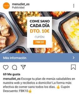 Cupón 10€ +(6€ por registrarte) MenuDiet
