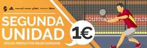Por 1€ la 2a unidad en palas de padel,zapatillas, textil o complementos