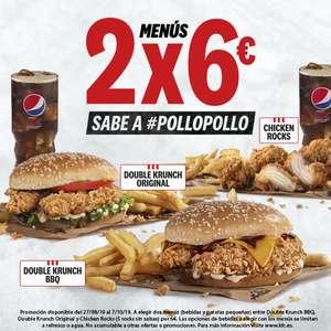 2 menús de pollo por 6€ en KFC