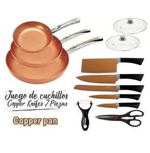 JUEGO DE 3 SARTENES Y 2 TAPAS REVESTIMIENTO CERAMICA CON COBRE + JUEGO DE CUCHILLOS COPPER KNIFES