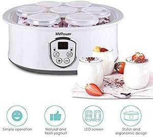 Yogurtera con Termostato Ajustable y Temporizador, 8 Tarros de 180ml MVPOWER Máquina para Yogur Natural con Pantalla LCD, 20W