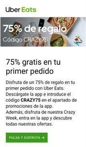Uber Eats 75% GRATIS en tu primer pedido. Nuevas cuentas.