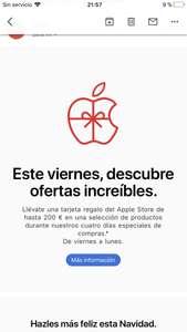 Apple regala una tarjeta de hasta 200€ al comprar un producto en promoción