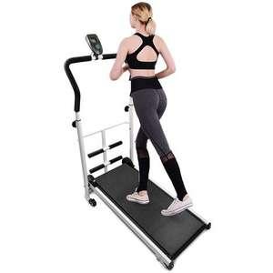 Cinta de correr mecánica, pantalla LED, equipo de ejercicios, bicicleta estática, trotar, carga máxima 100 kg, Negr