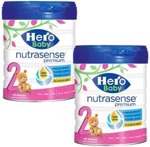 Pack de 2 x 800g de Hero Baby Nutrasense Premium 2 - Leche de Inicio en Polvo