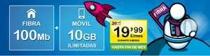 Fibra 100 Mb + 10 GB + ilimitadas 19'99€/mes durante 6 meses
