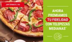 Cada 10 pedidos de 7 euros o mas, pizza mediana gratis en Telepizza