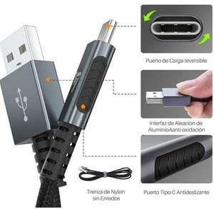 Pack de dos cables USB C metálicos y cable reforzado con nylon