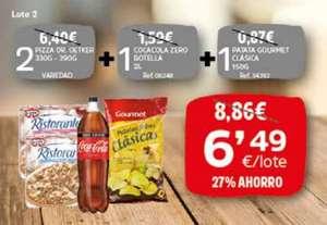 2 Pizzas Ristorante, Coca cola 0 1,5 litros y bolsa de patatas grande