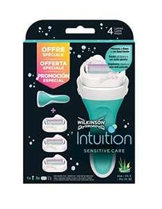 Wilkinson Sword Pack Intuition Sensitive Care - Maquinilla depilatoria y enjabonadora femenina Intuition + 3 cuchillas autoadaptables