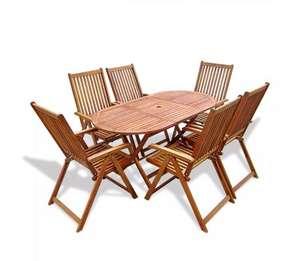 Set plegable de comedor para jardín (1 mesa + 6 sillas) [madera maciza de acacia]