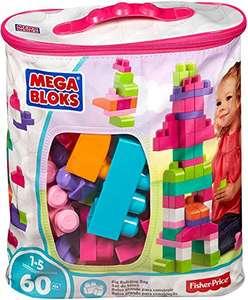 Mega Bloks Juego de construcción de 60 piezas, bolsa ecológica rosa, juguetes bebés 1 año