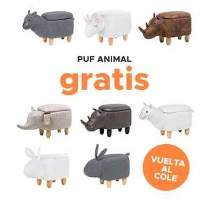 Puf animal GRATIS, al realizar una compra mínima de 200€