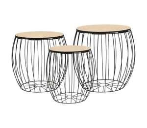 Mesas de centro 3 piezas madera contrachapada álamo y hierro