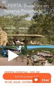 1295€ – Última hora: Sudáfrica 9 días safari reserva lujo