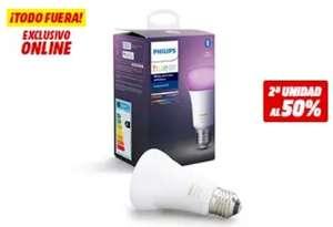 Philips Hue LED E27, Luz blanca y color, 25€ y 2º unidad al 50%
