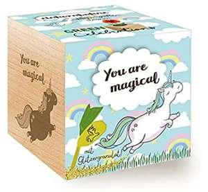Cubo de Madera con Grabado láser «You Are Magical», Idea de Regalo sostenible, Juego de Cultivo ecológico